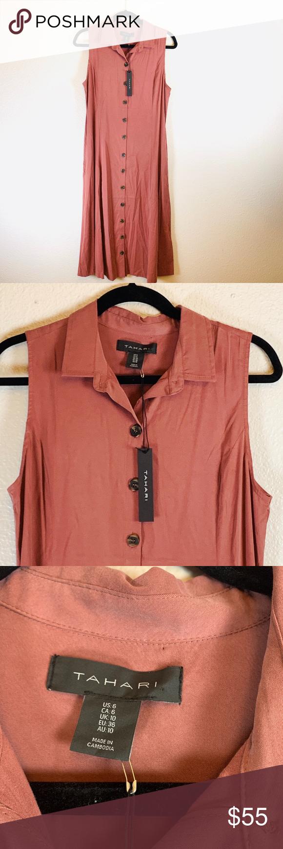 Tahari Button Down Maxi Dress Size 6 Clothes Design Maxi Dress Tahari Dress [ 1740 x 580 Pixel ]