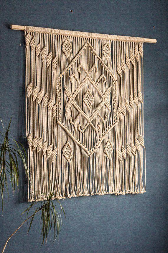 Macrame wall hanging Woven wall hanging Wall tapestry Boho Headboard Weaving Living room decor