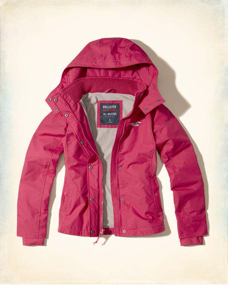 Hollister All Weather Hooded Women S Pink Lined Jacket Coat Spring Small S Jackets Outerwear Jackets Clothes Design [ 1000 x 800 Pixel ]