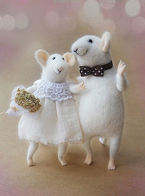 Needle Felted Mouse Couple Mice Wedding Cake Topper