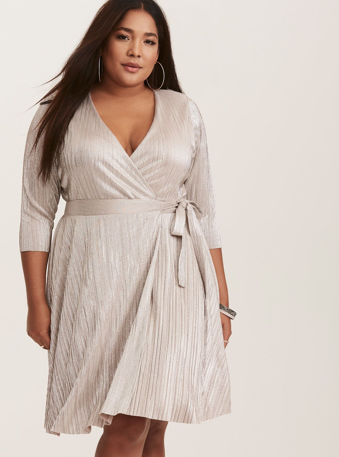 Silver Metallic Pleated Wrap Dress in 2019 | 2016 List | Dresses ...