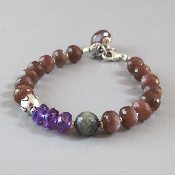 Caramel Cat S Eye Ring Diamontrigue Jewelry: Caramel Moonstone Bracelet Amethyst Sterling Silver By