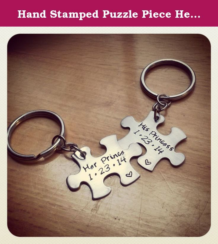 hand stamped puzzle piece her prince his princess couples