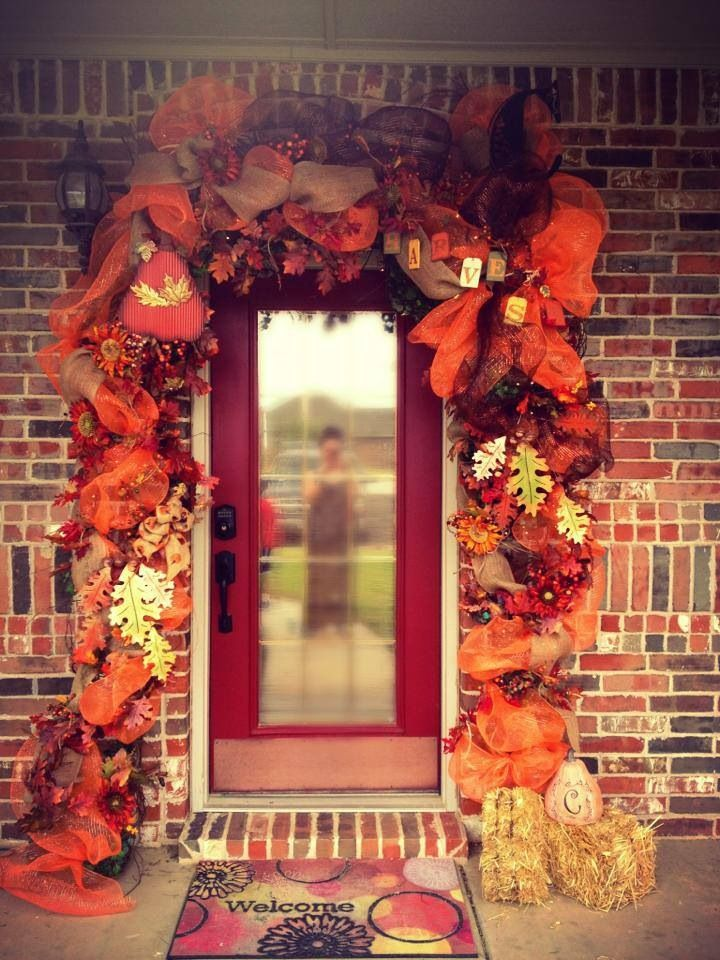 Fall Door Garland With Deco Mesh With Silk Flowers And Leaves