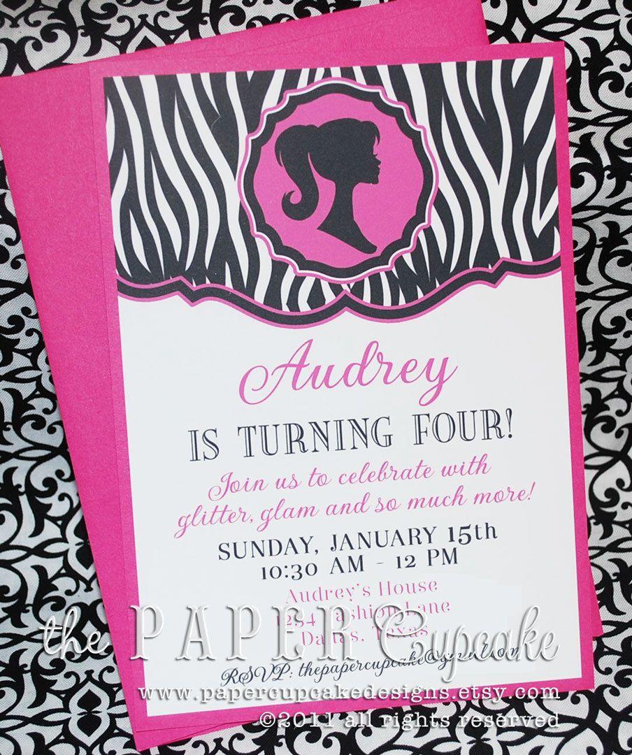 OhSo Sassy Girl Barbie Inspired Silhouette Printed Invitations
