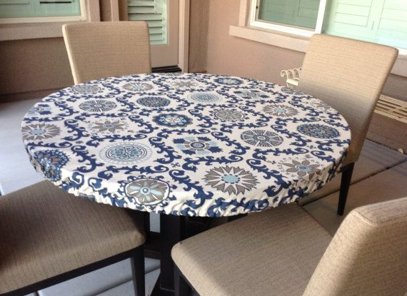 Rustic Fitted Tablecloth Indigo On Natural Linen Elastic