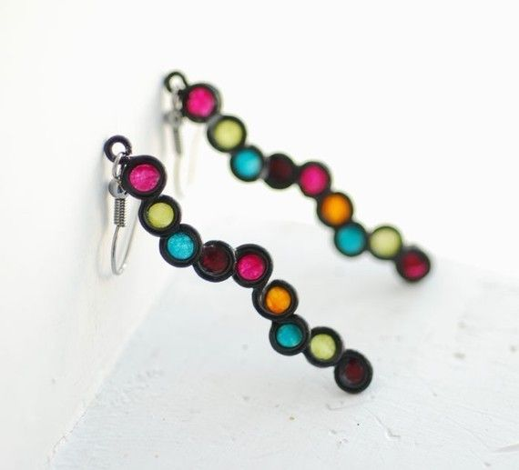 Jewel Tone Bubble Earrings in Sterling Silver, Fall Fashion, Artisan designer jewelry, Eco Friendly..... $27.00, via Etsy.