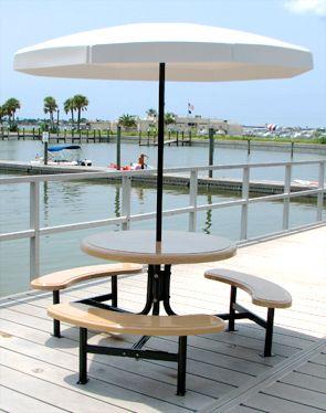 6 Round Fiberglass Picnic Table With Fiberglass Umbrella