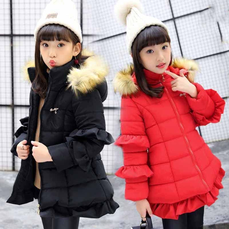 Girls Kids Padded School Quilted Winter Puffer Fur Hooded Long Parka Coat Jacket
