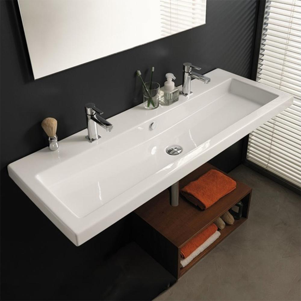 Nameeks Cangas Wall Mounted Ceramic Bathroom Sink In White Tecla Can05011b Two Hole The Home Depot In 2020 Rectangular Sink Bathroom Wall Mounted Bathroom Sinks Rectangular Sink