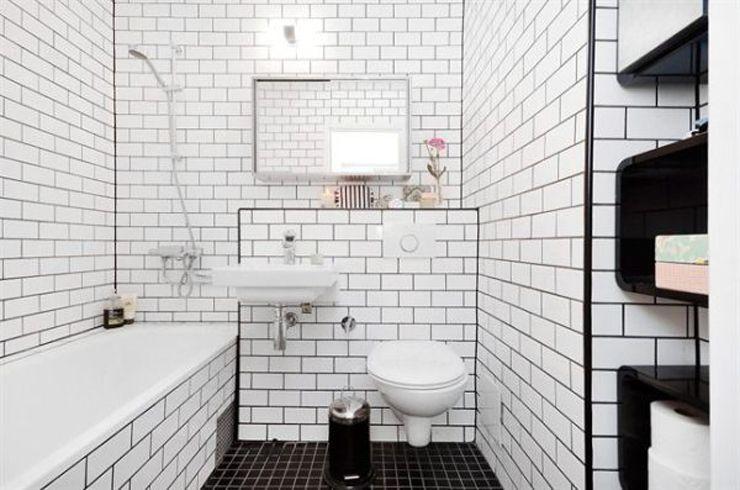 azulejos blancos con junta negra que baño | Decoración Baños ...