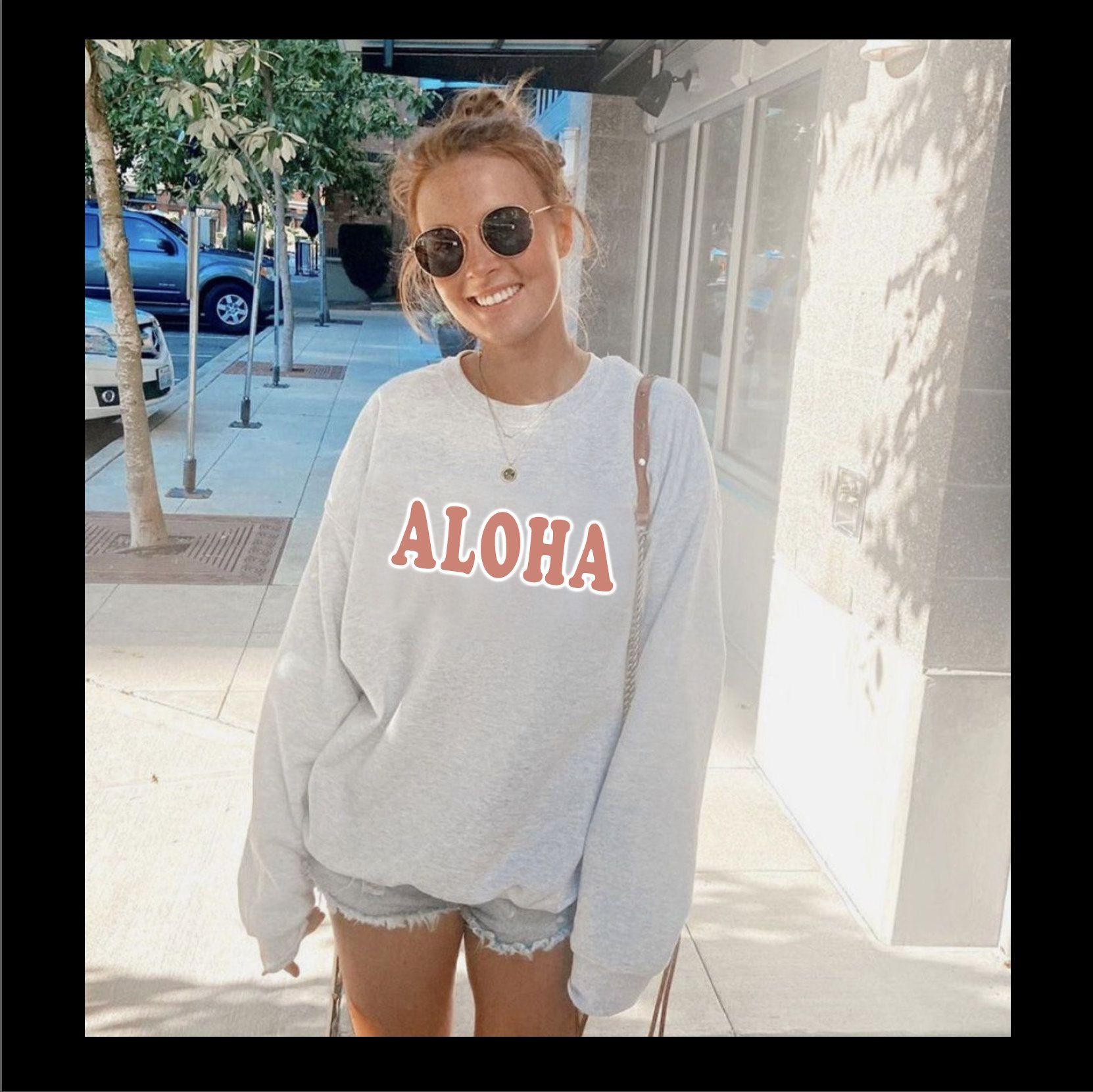 Aloha Sweatshirt Hawaii Unisex Crewneck Sweatshirt Hawaii Sweatshirt Hawaiian Pullover Sweatshirt Womens Oversized Sweatshirts Women Beach T Shirts Sweatshirts [ 1660 x 1662 Pixel ]