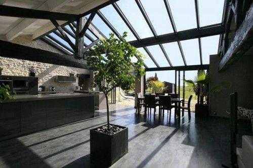 Véranda moderne et épurée dans les ton gris Véranda Pinterest - cuisine dans veranda photo