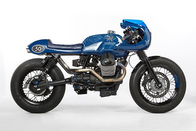BLUE RACER CULT. Gannet Design And The Wrench Kings Take On A Moto Guzzi V7 - Pipeburn.com