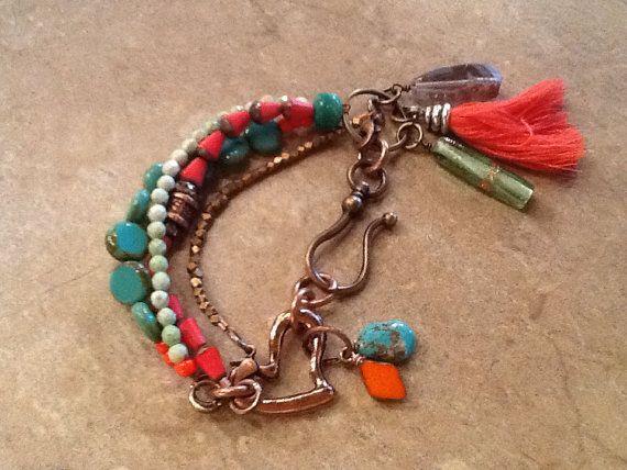 Multi strand boho bracelet by josierosejewelryco on Etsy, $44.00