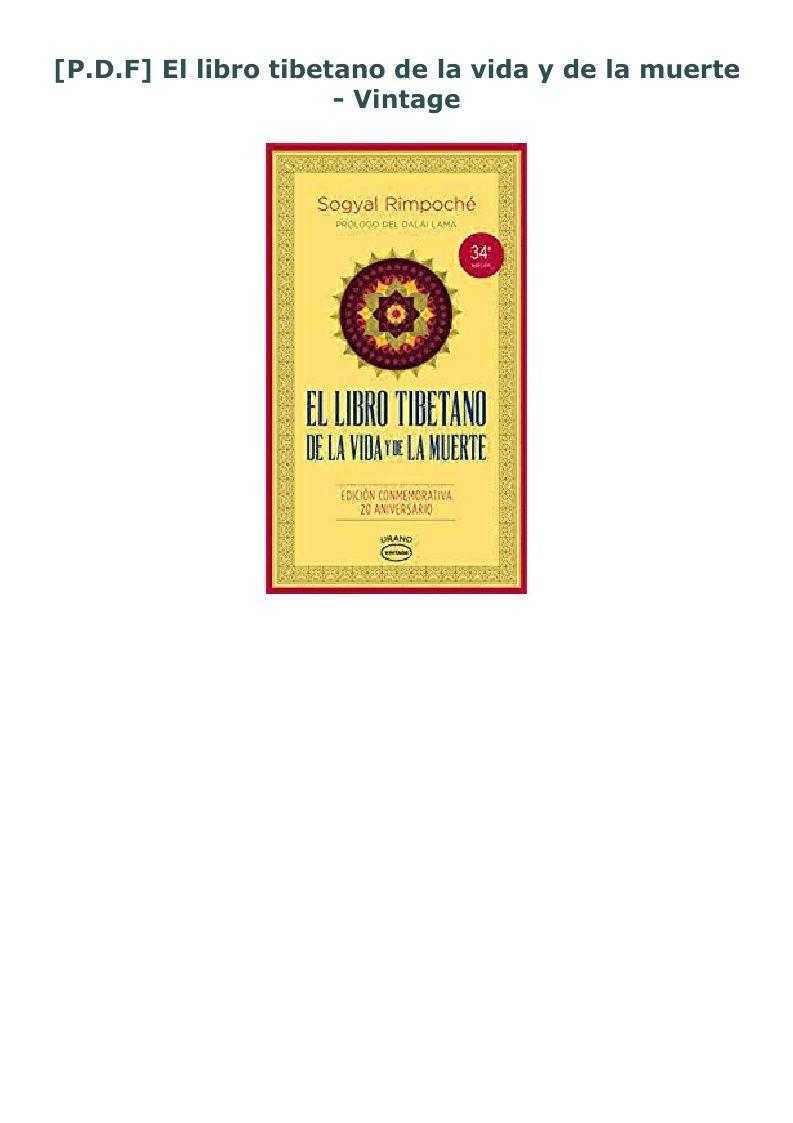 P D F El Libro Tibetano De La Vida Y De La Muerte Vintage