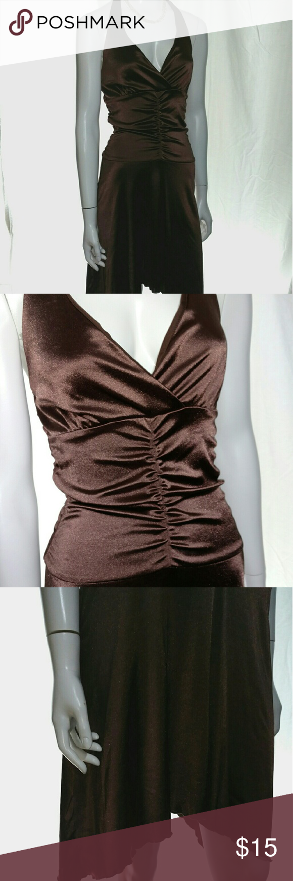 Hourglass dress brown, bronze, M This is a beautiful bronze, brown dress, halter, asymmetrical hem line. V-neck, backless. A few snags, price reflects imperfections, more pictures upon request hourglass Dresses Midi