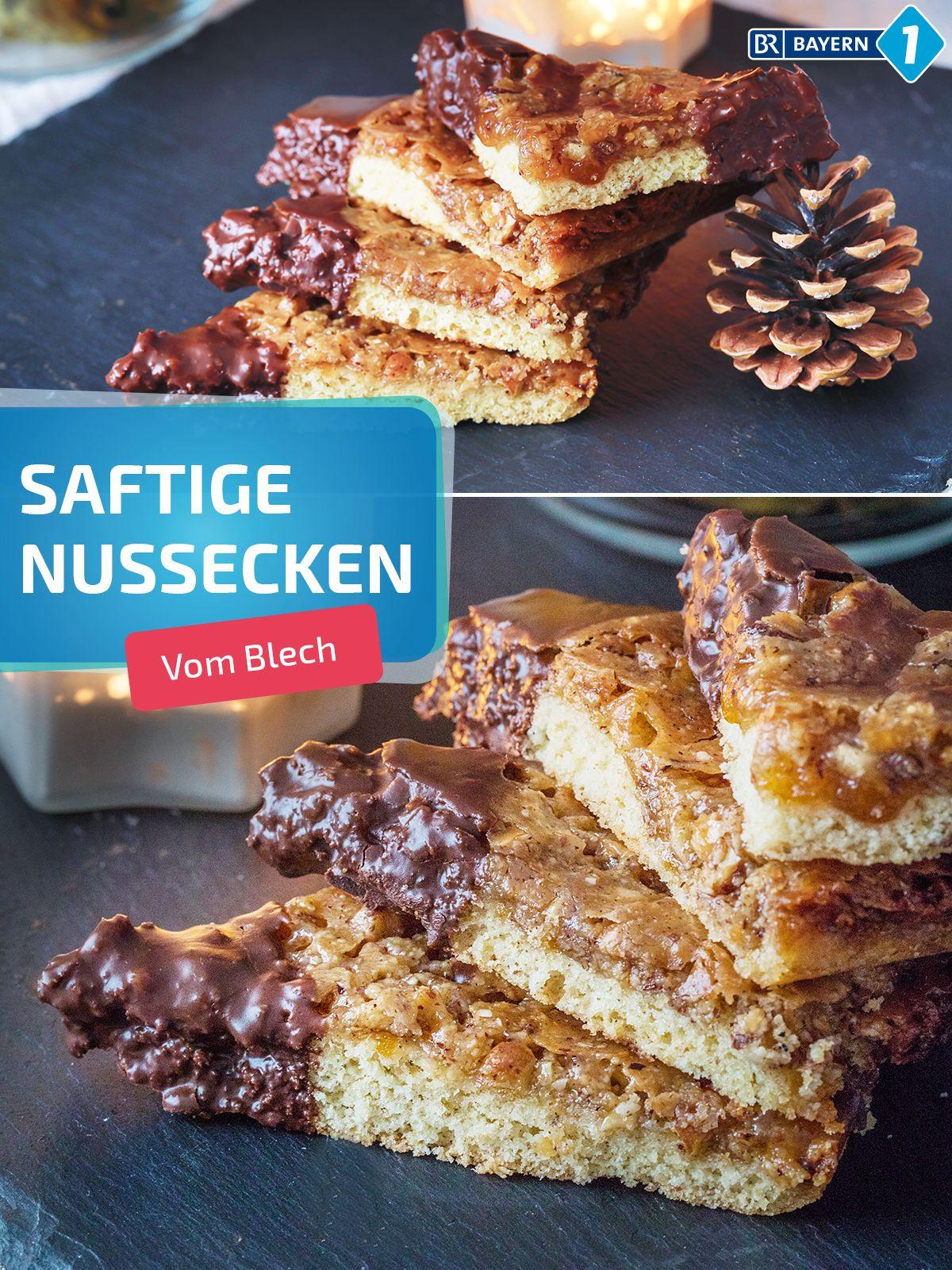 Leckere Nussecken selber backen - mit diesem Rezept vom Blech. Nomnomnom! #backen #nussecken #blechkuchen #nusseckenrezept