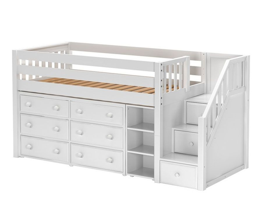 Great1 Twin Size Low Loft Bed With Stairs White By Maxtrix Kids