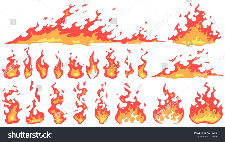 Cartoon Fire Flames Fireball Flame Red Hot Fire And Campfire Fiery Silhouettes Vector Set Burning Effect Dangerous Nat Flame Art Silhouette Vector Fireball