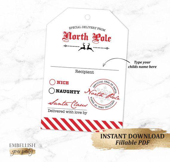 Personalized Santa Gift Tag Printable Santa Gift Tags