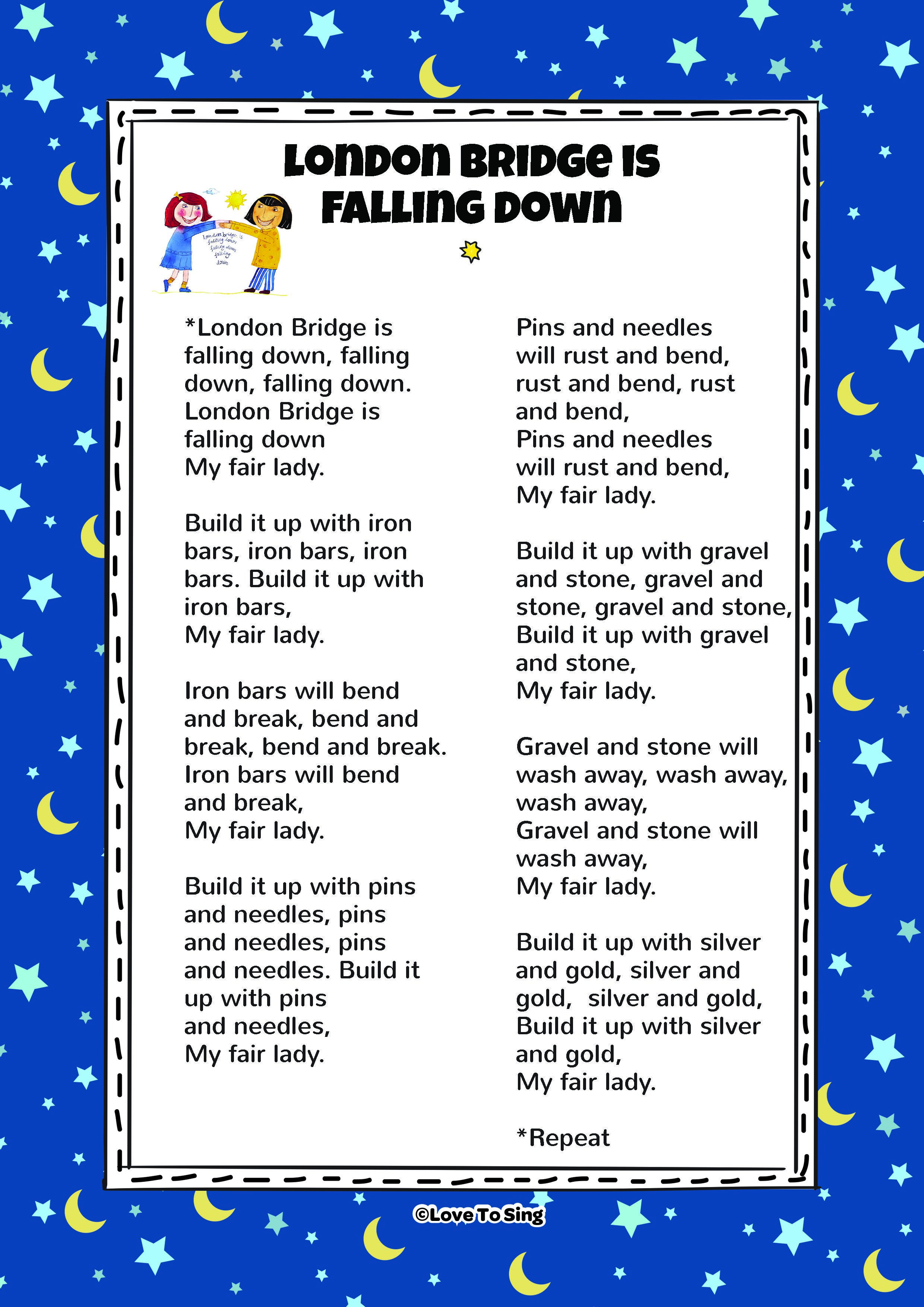 London Bridge Is Falling Down Song With Free Able Lyrics Nursery Rhymes Songs For Kids