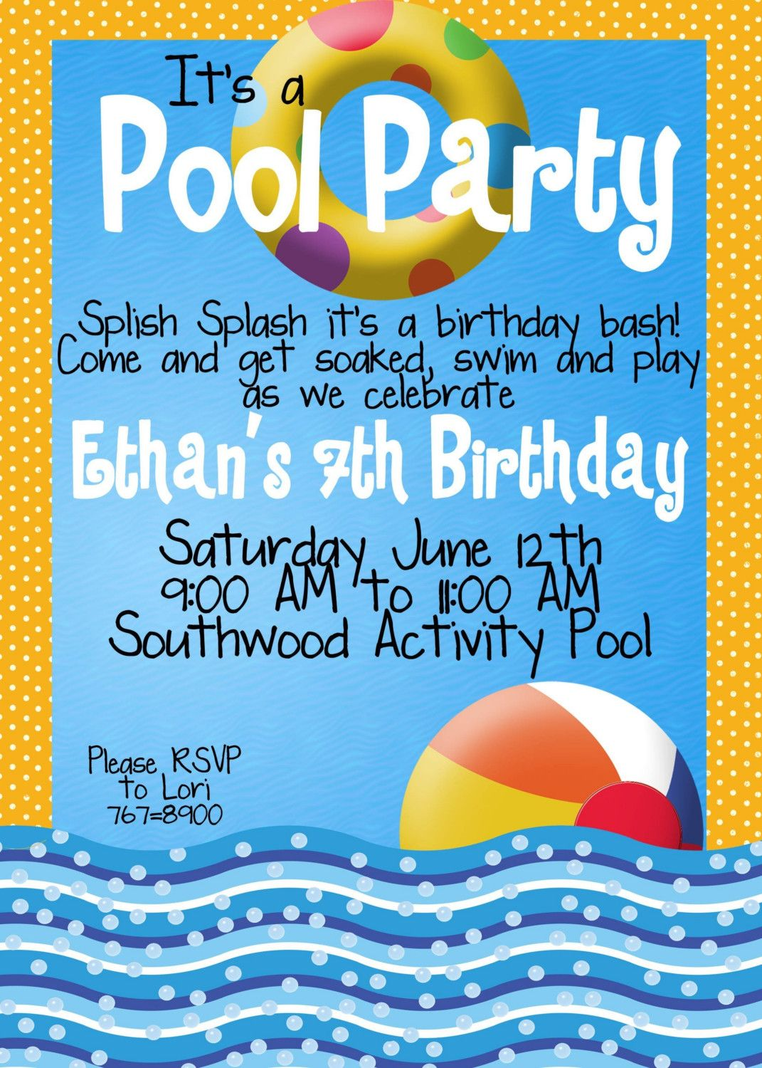 With a few tweaks....Pool Party Invitations | Pool Party Invitations ...