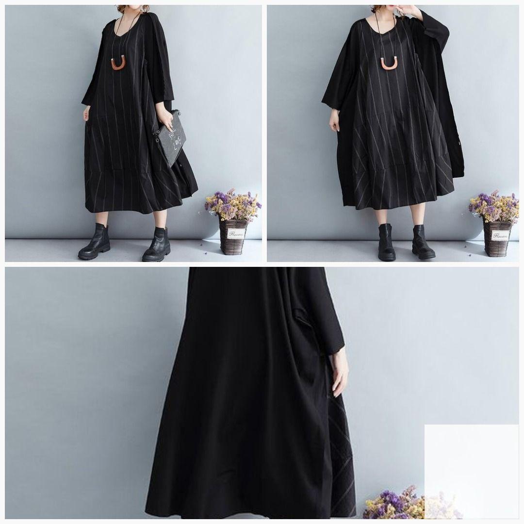 Womenus maxi dresses cotton dress long black oversized dress in