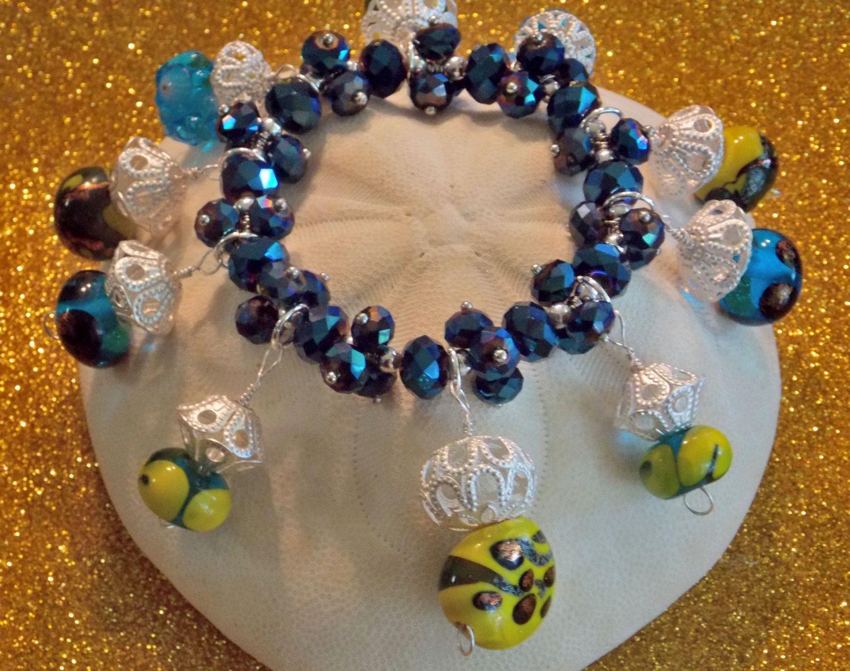 Lampwork Glass Beach Stones Stretch Bracelet by PinkCowGoddess on Etsy