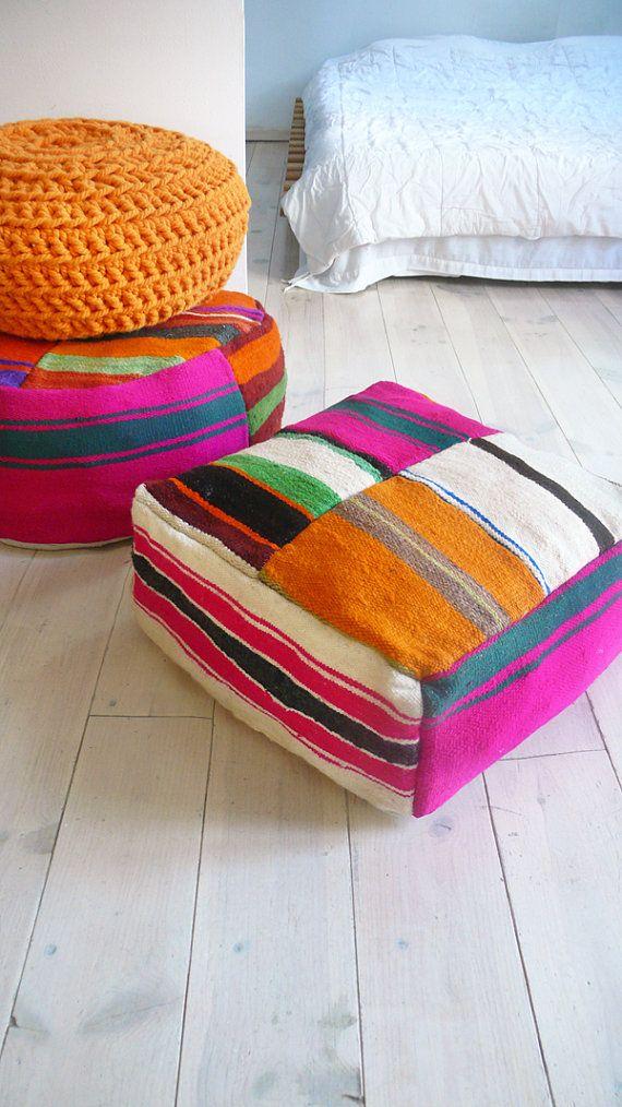 Moroccan Kilim Pouf Round Stripe Floor Cushions Soft