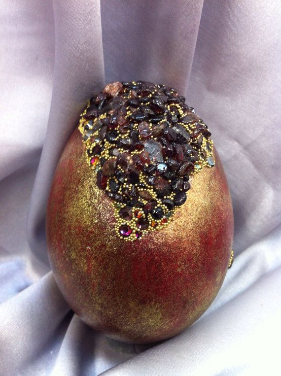 Red/Gold Goose Egg set with Garnets and rhinestones on ...
