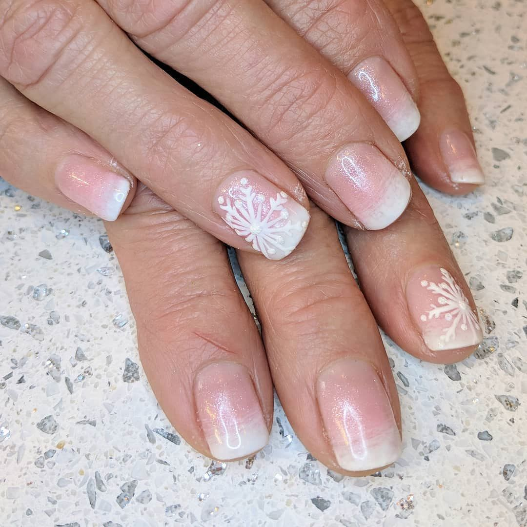 Gel polish on natural nails with hand blended baby boomer ombre and ...