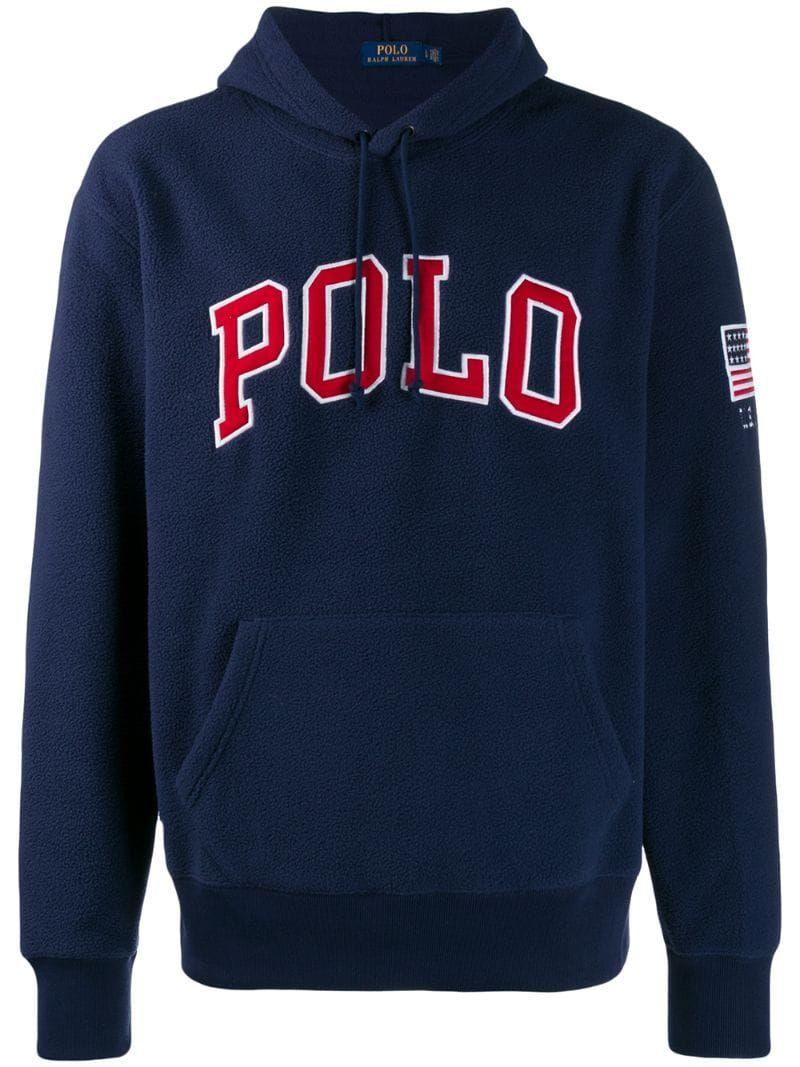 Polo Ralph Lauren logo fleece hoodie - Blue | Ralph lauren ...