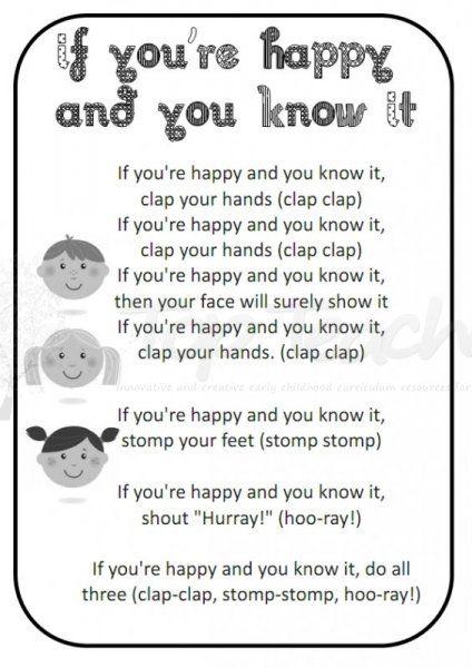 Happy And You Know It 001 Jpg 424 600 Kindergarten Songs Preschool Songs Nursery Rhymes Lyrics