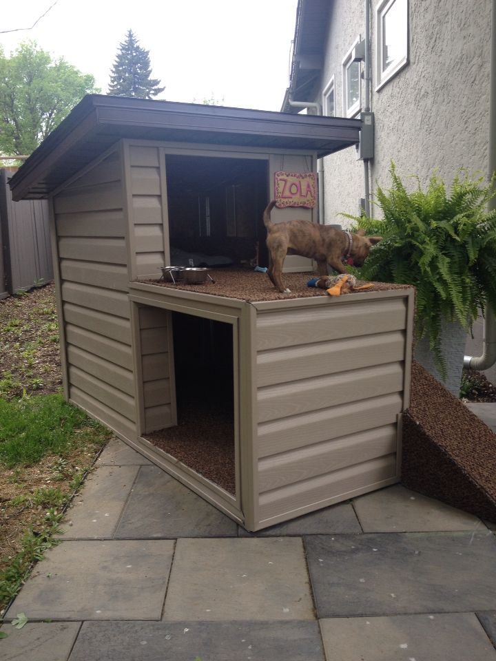 2 story dog house with a top patio and ramp access . | Dog house diy ...
