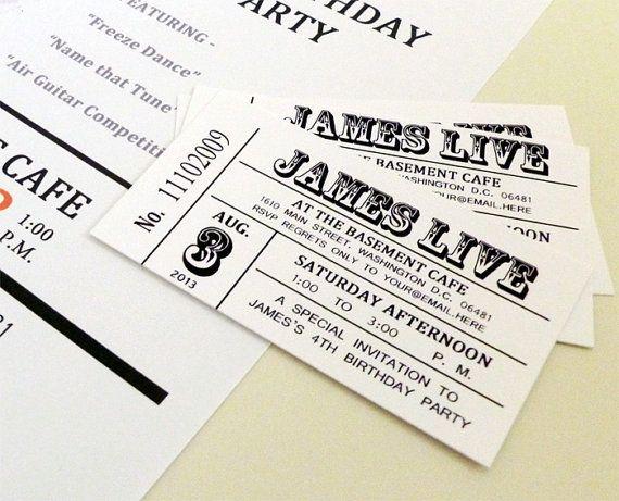 dimensions 2 x 3 5 vintage concert ticket size 10 invitations