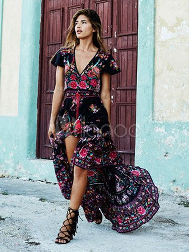 1c5ea3f00ff Boho Maxi Dress V Neck Short Sleeve High Split Front Long Dress in ...