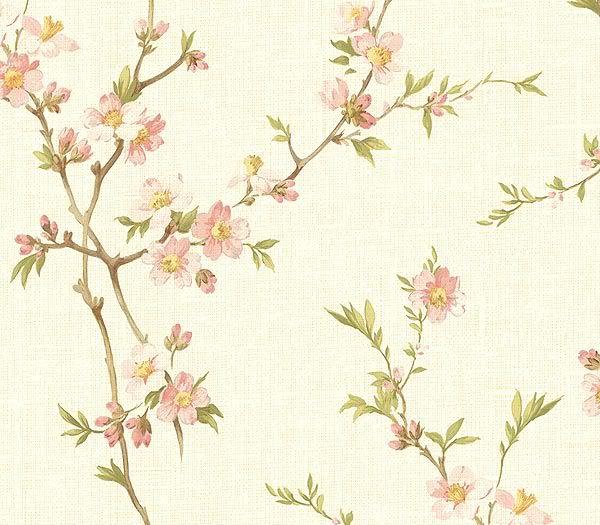 Fondo Beige Con Flores Tipo Sakura