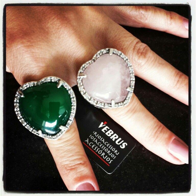 Anéis coração de Ágata com moldura de zircônias #vebrusacessorios #semijoias #chic #artesanal #handmade #madeinbrazil #bohostyle #trend #BH #euusovebrusacessorios