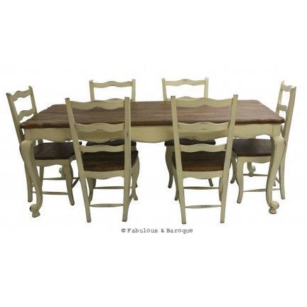 French Country Rustic Dining Table And 6 Chairs Ivory