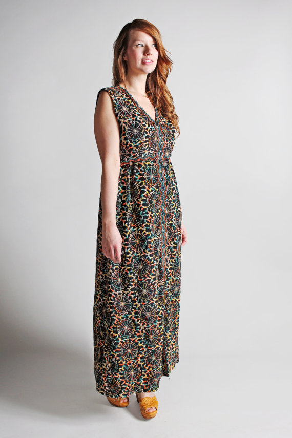 dda1c739d1 Vintage 1970s Psychedelic Maxi Dress - Embroidered Sequins Bold Black Multi  Color 70s 60s Boho Bohem