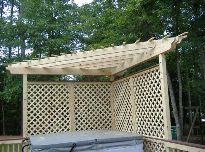 Lattice privacy screen for deck spencer pinterest for How to build a corner pergola