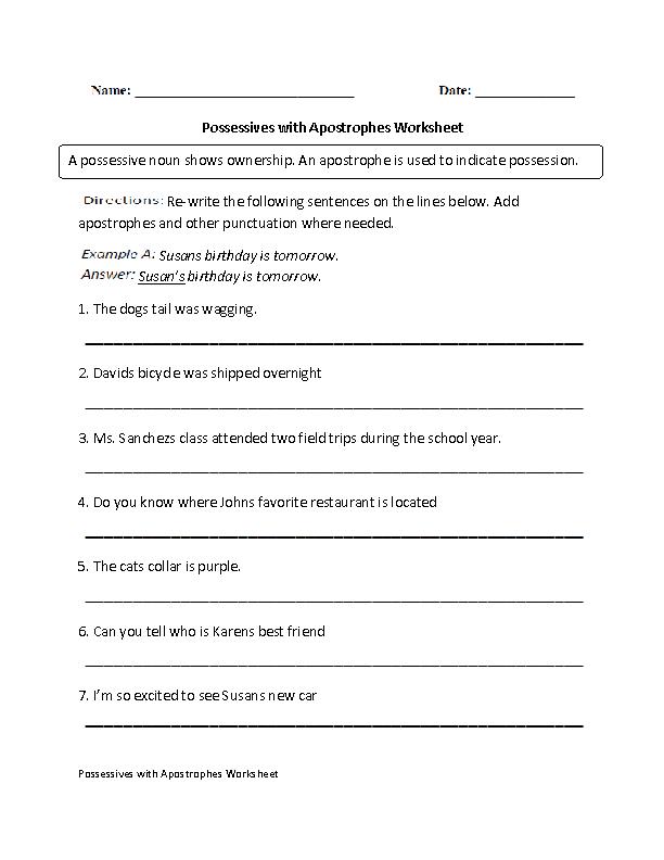 Possessives with Apostrophes Worksheet   4th grade ELA   Pinterest ...