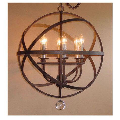 Cabana Home::LIGHTING- Indoor::CHANDELIERS::LeMonde Iron Sphere Chandelier - 6 light