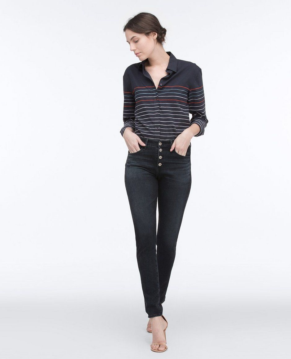 The Farrah Skinny Button-Up in Waterline
