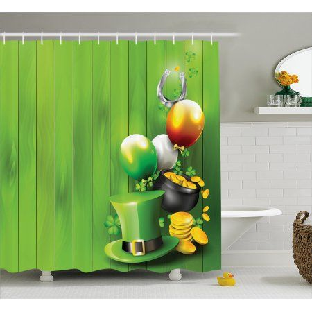 St Patrick S Day Shower Curtain Wood Design With Shamrock Lucky