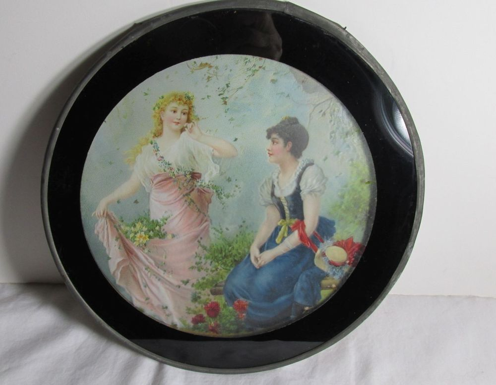 VINTAGE VICTORIAN TWO YOUNG LADIES CHIMNEY FLUE COVER W