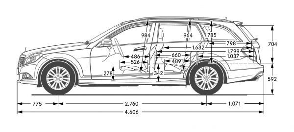mercedes-benz c-klasse t-modell (s 204) - abmessungen & technische