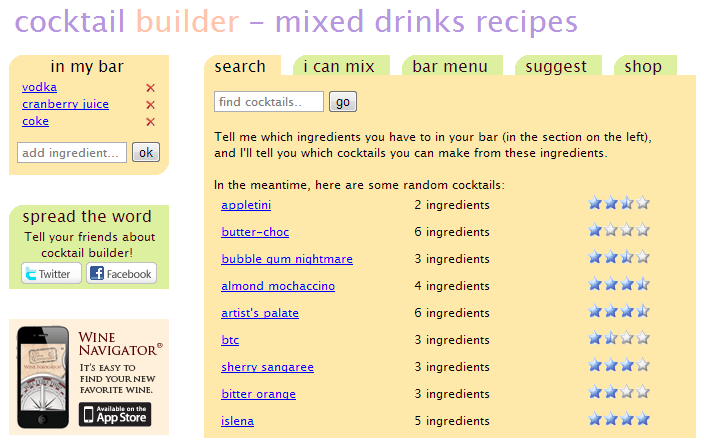 cocktail builder - a website where you type in what you have in your bar and it gives you a list of cocktails you can make!