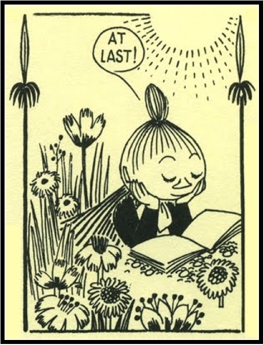 Tove Jansson. Little My's reading hour ;) {Look at the illustration...gorgeous!}